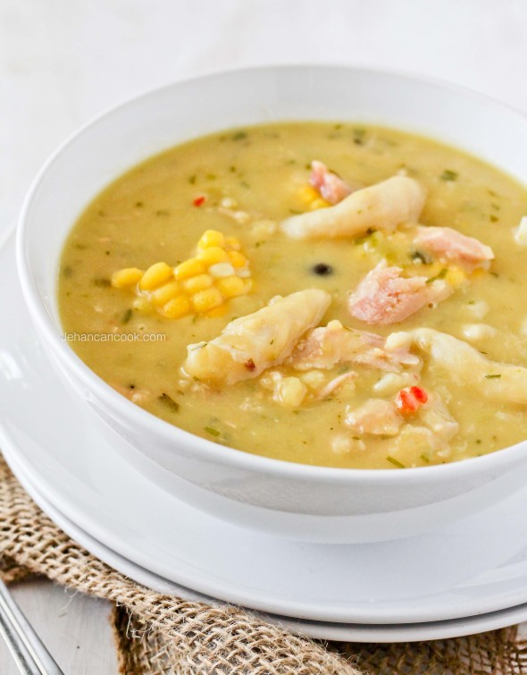 SMOKED TURKEY WING AND CORN SOUP