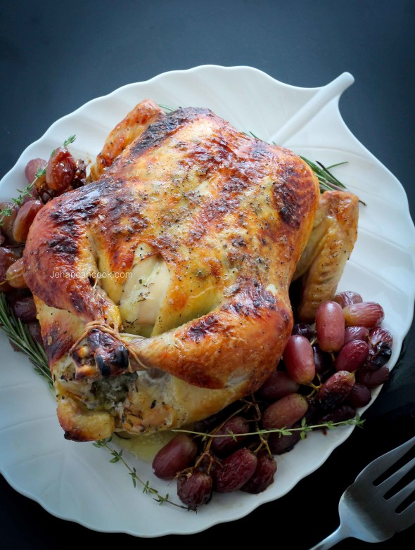 HERB ROASTED CHICKEN AND GRAPES