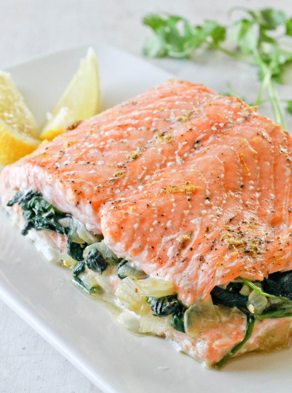 SALMON STUFFED WITH SPINACH