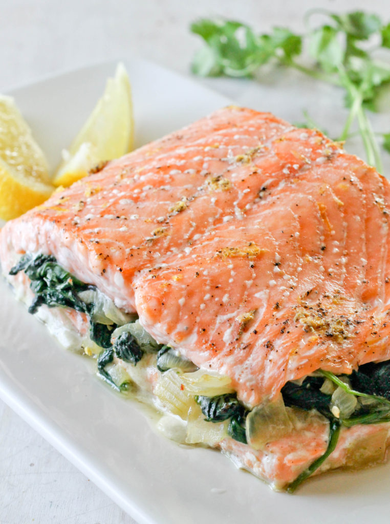 SALMON STUFFED WITH SPINACH - Jehan Can Cook