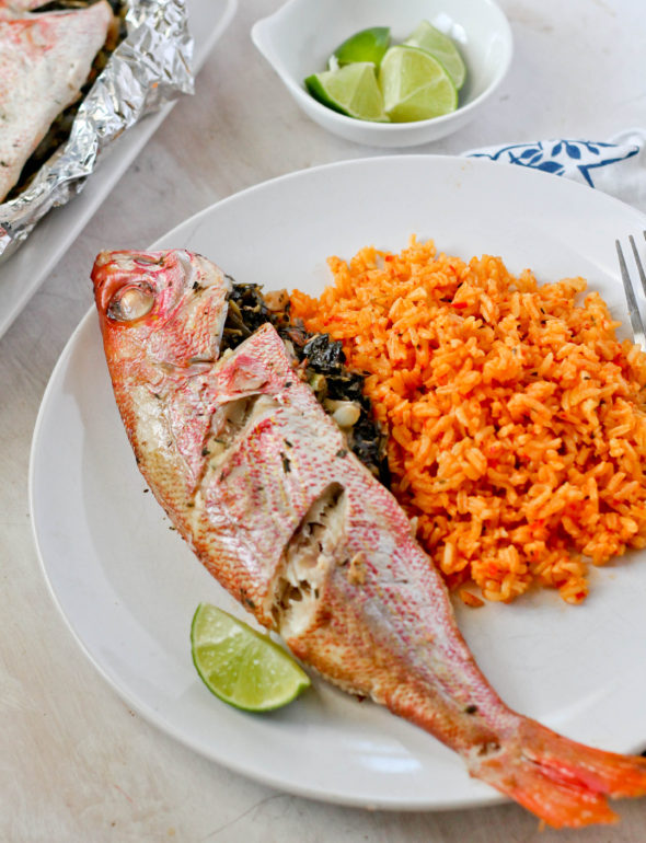 ROAST SNAPPER STUFFED WITH CALLALOO